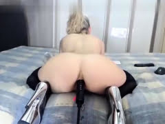 hot blonde toying ass on...